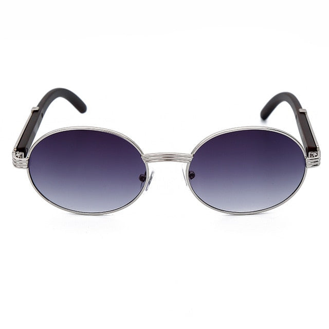 Oval Small Round Metal Frame Sunglasses - UV400, Mirror
