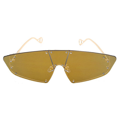 Vintage Sunglasses Women Cat Eye Rimless Sun Glasses Sunglasses Rivet One Piece
