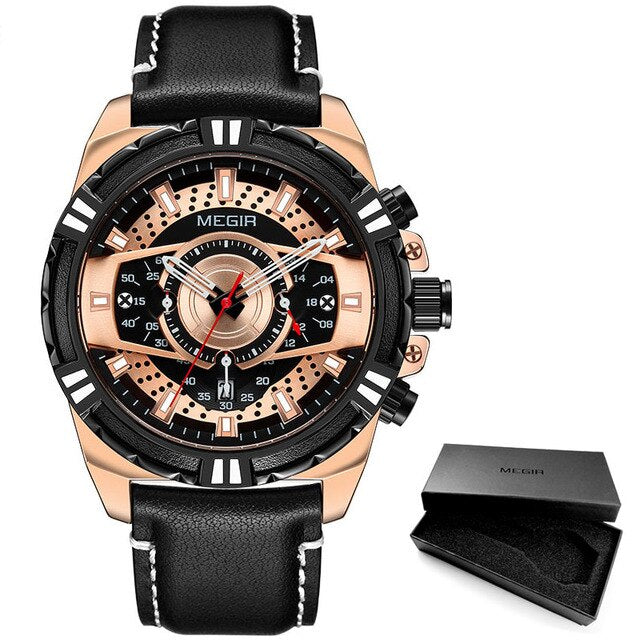 Men's Chronograph Quartz Watch With Luminous Hands And  Leather Strap - GiftWorldStyle - Luxury Jewelry and Accessories