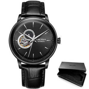 Men's Mechanical Watch With Leather Strap With Sapphire Crystal, Water Resistant - GiftWorldStyle - Luxury Jewelry and Accessories