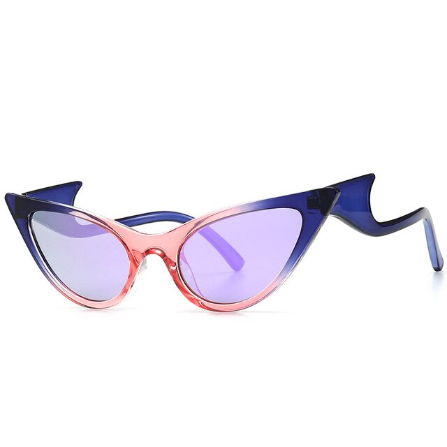 Cat Eye UV400 Sunglasses With Wave Legs - Mirror