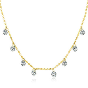 Real 925 Sterling Silver Dazzling Cubic Zircon Round Circle CZ Pendant Necklaces Women Jewelry