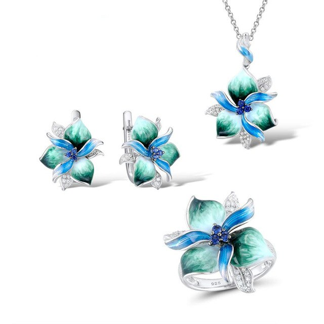 Luxury Bloom Flower Enamel Jewelry Sets - 925 Sterling Silver - GiftWorldStyle - Luxury Jewelry and Accessories