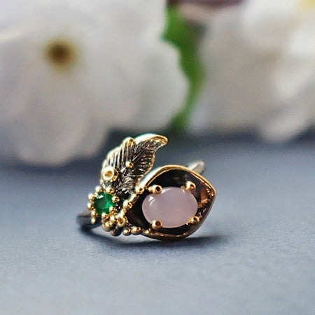 Pink Flower Blossom Finger Ring for Women Jewelry Black Gold Coating Engagement Rings
