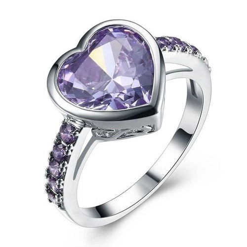 Purple Lover Heart Zircon Rings for Women Party Ringen Anel Anniversary Gift