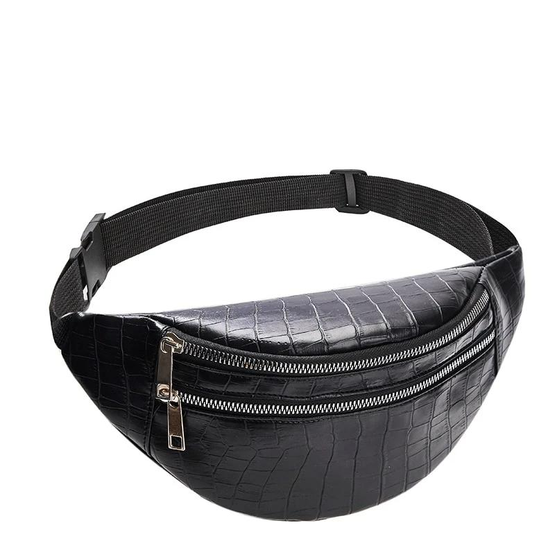 Crocodile Chest Bag With Leather Belt And Two Zipper