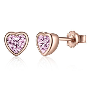 Dazzling Heart 925 Sterling Silver Stud Earrings For Women