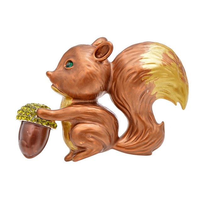 Enamel Squirrel Animal Brooch Pin