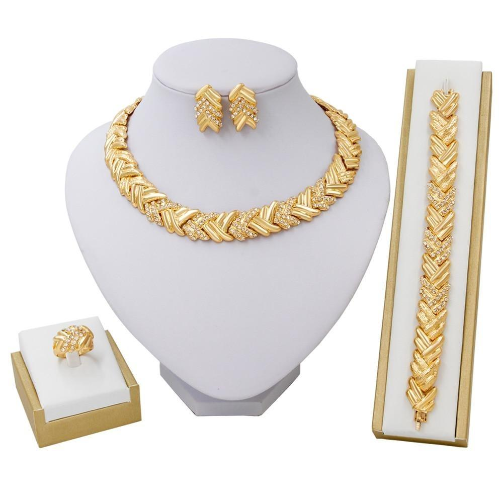 African Gold Jewelry Sets - Necklace, Bracelet, Earrings & Ring - GiftWorldStyle - Luxury Jewelry and Accessories