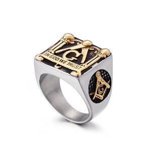 American Vintage Masonic Elements Ring Gold Casting Stainless Steel Ring Men's jewelry