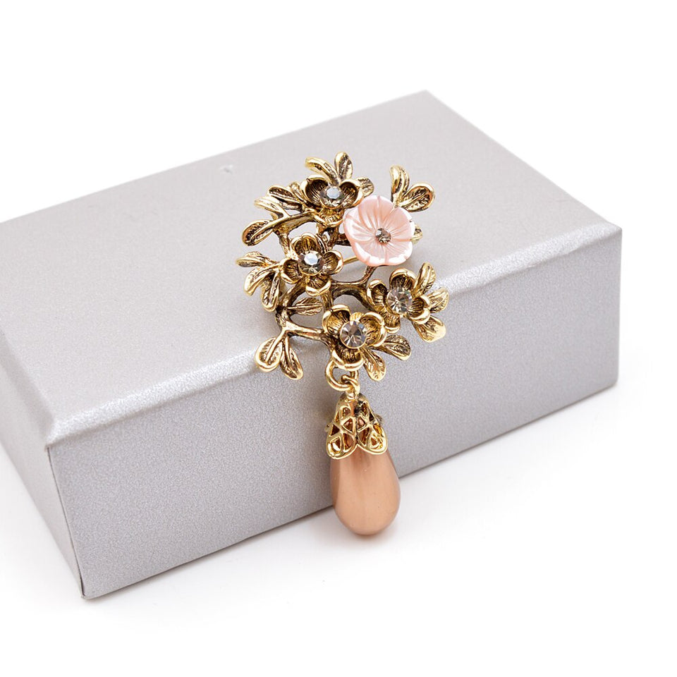 Shell Flower Water Drop Brooches For Women