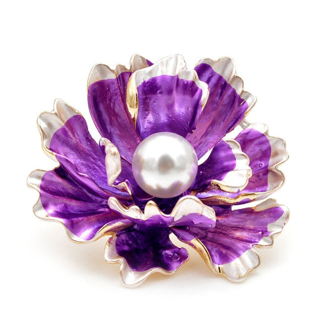 Enamel Peony Flowers Brooches For Women