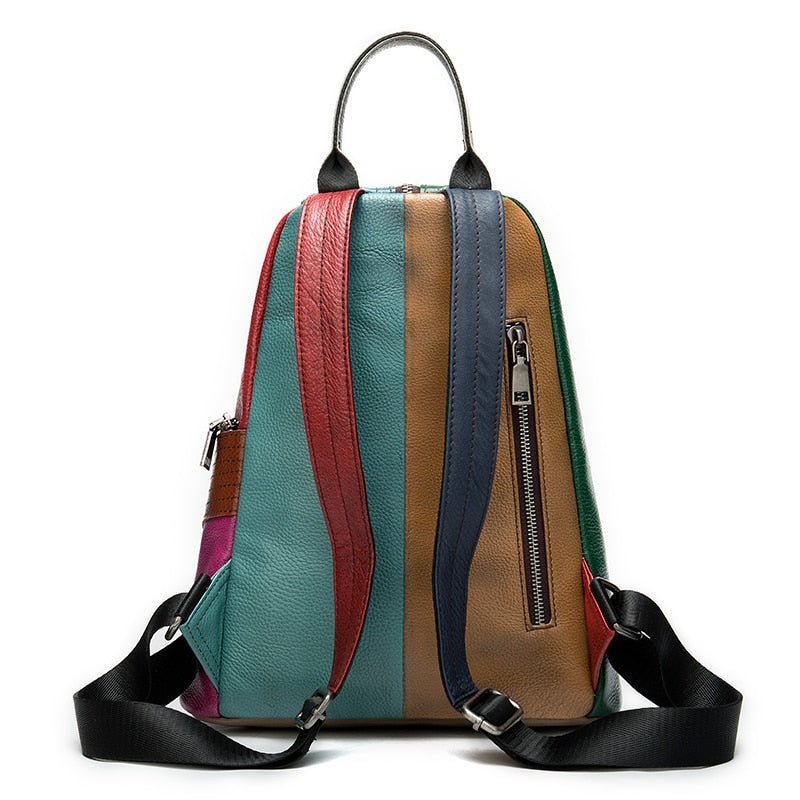 Patchwork Colorful Women Leather Backpack With Outer Pocket