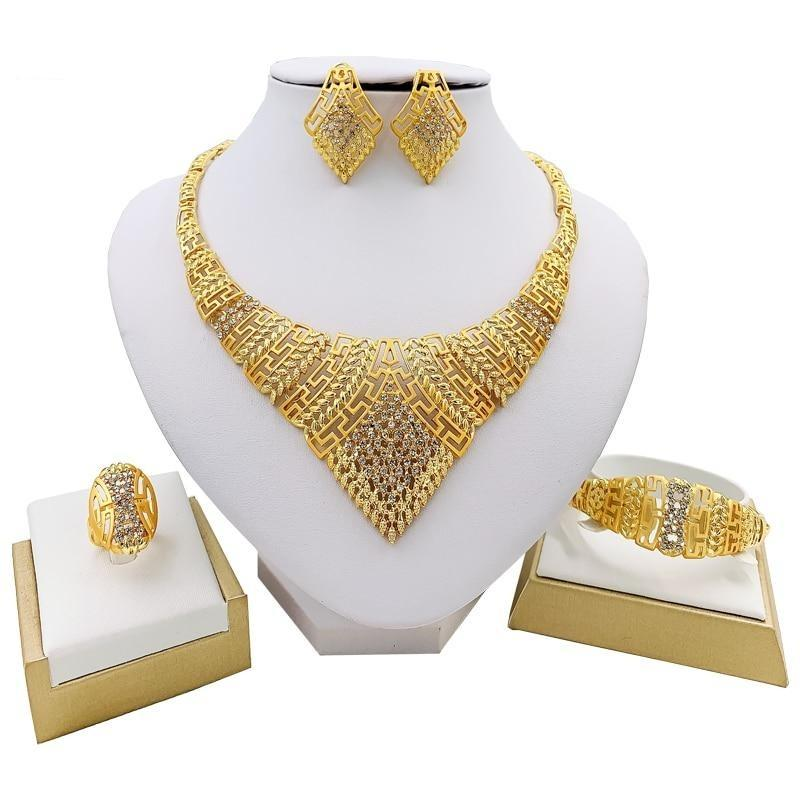 Classic Big Crystal Necklace, Bracelet, Earrings & Ring - GiftWorldStyle - Luxury Jewelry and Accessories
