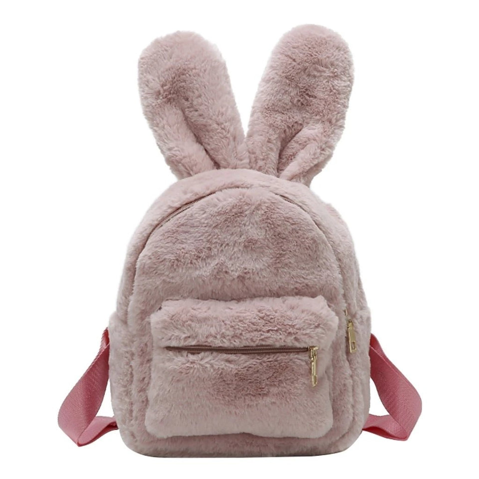 Women Small Backpack Mini Cute Rabbit Ear Plush Shoulder Bag For Girls Travel Plush Backpack