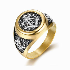 Stainless Steel Masonic Gold Color Ring Inlaid Rhinestone Freemason Symbol G Templar Freemasonry Rings
