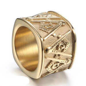 Men's Stainless Steel Masonic Lodge Ring Antique Gold Black Tone Square Freemason Insignia Rings