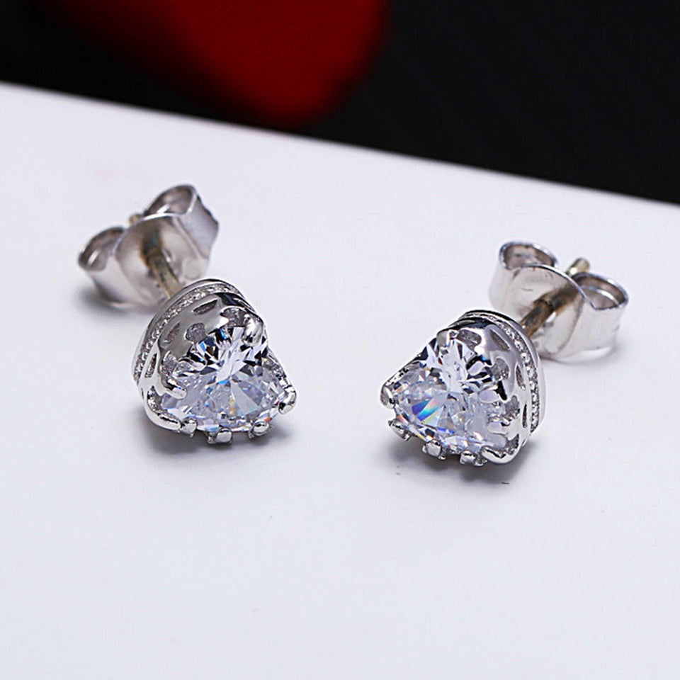Heart Shape Zirconia Crystal Stud Earrings for Women