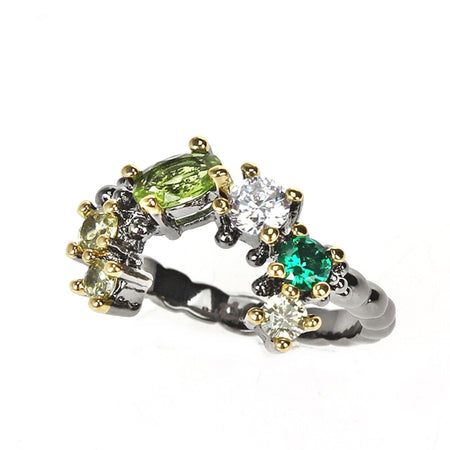 Rings Earrings Set Wedding Engagement Jewelry Dazzling Green Tone Colors Zircons