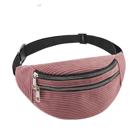 Corduroy Waist Bag With Two Zipper, Adjustable handle - GiftWorldStyle - Luxury Jewelry and Accessories