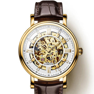 Rome Dial Watches Men Automatic Gear Mechanical Brands Steel  Leather Wrist Watch