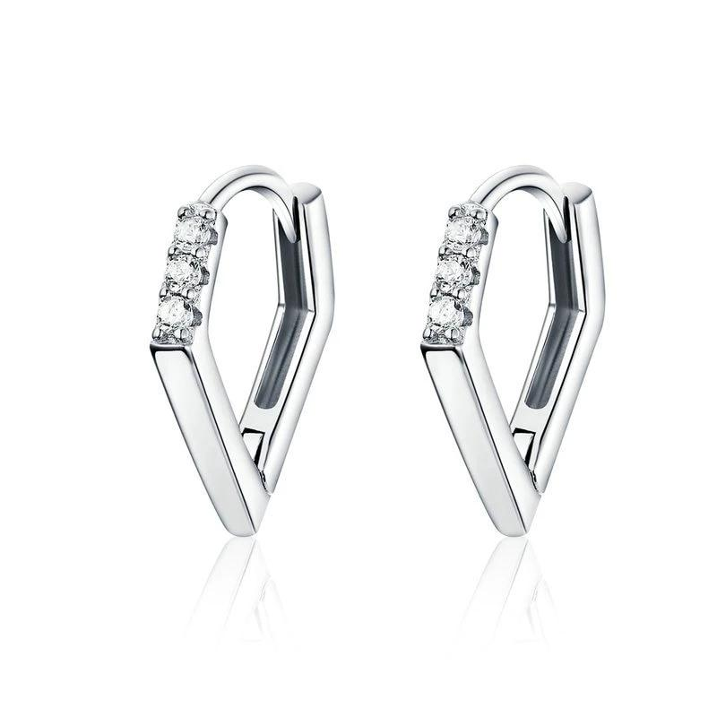 V Shaped Hoop Earrings For Women - 925 Sterling Silver