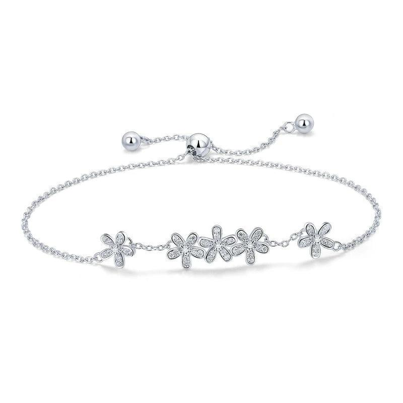 Luminous Daisy Flower Bracelet - 925 Sterling Silver, Clear CZ