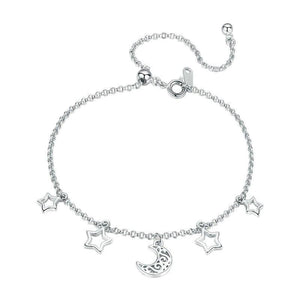 925 Sterling Silver Moon And Star Chain Link Bangles Bracelets for Women Sterling Silver Jewelry