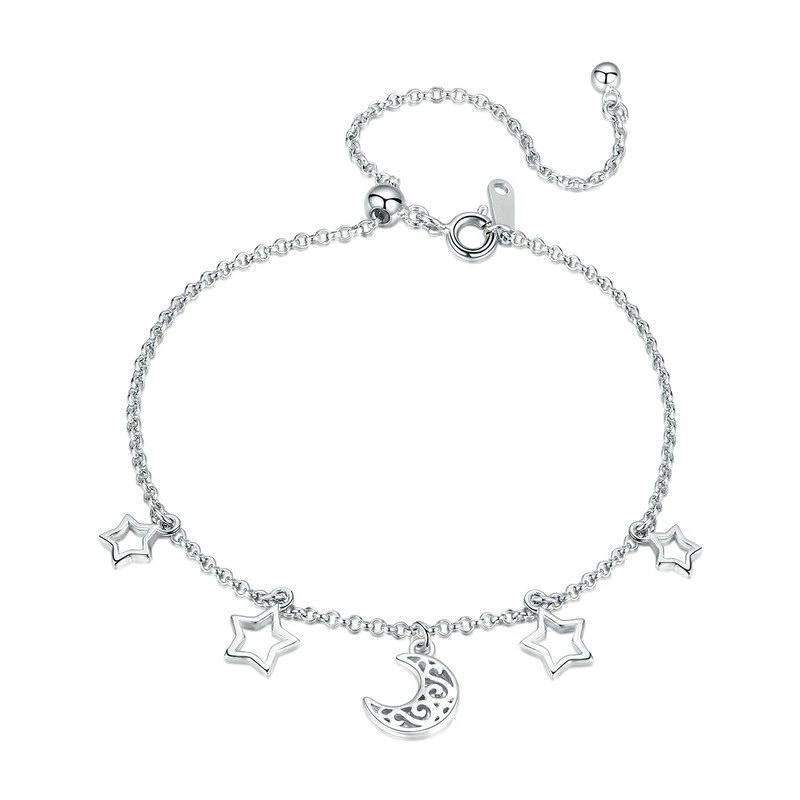Moon And Star Bracelet For Women - 925 Sterling Silver