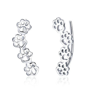 925 Sterling Silver Paw Trail Cat And Dog Footprints Stud Earrings for Women Sterling Silver Jewelry