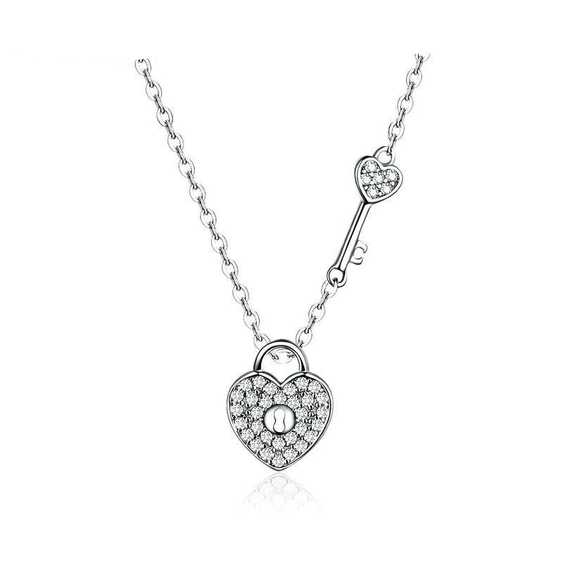 Lock and Key Heart Necklace Pendant - 925 Sterling Silver