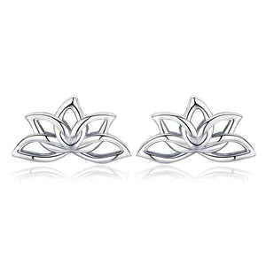 Elegant Lotus Flower Stud Earrings - 925 Sterling Silver