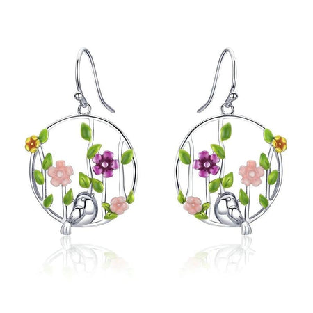 Blooming Forest Birds Secret - Earrings for Women, 925 Sterling Silver - GiftWorldStyle - Luxury Jewelry and Accessories