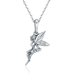 Authentic 100% 925 Sterling Silver Flower Fairy Long Necklace Women Pendant Jewelry