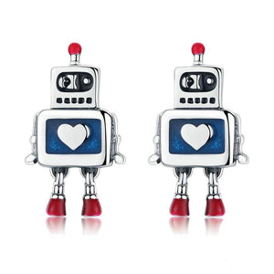 Genuine 925 Sterling Silver Childhood Robot Heart Stud Earrings Women Sterling Silver Jewelry