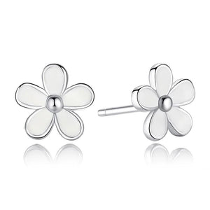 925 Sterling Silver Darling Daisy Stud Earring White Enamel With Clear CZ Compatible Jewelry Store