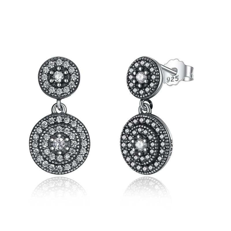 Radiant Elegance Earrings - Surrounded Ancient Silver Women Drop
