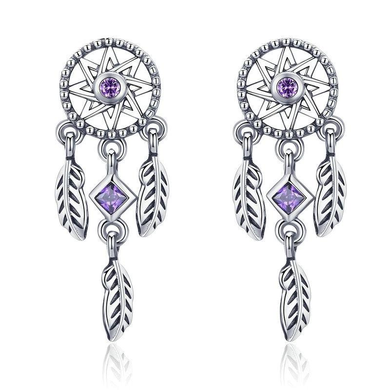 Purple Dream Catcher Drop Earrings - 925 Sterling Silver, Cubic Zircon