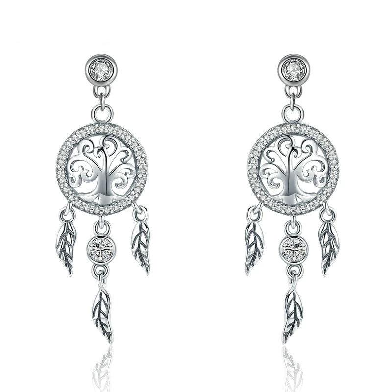 Tree of Life Dream Catcher Drop Earrings - 925 Sterling Silver