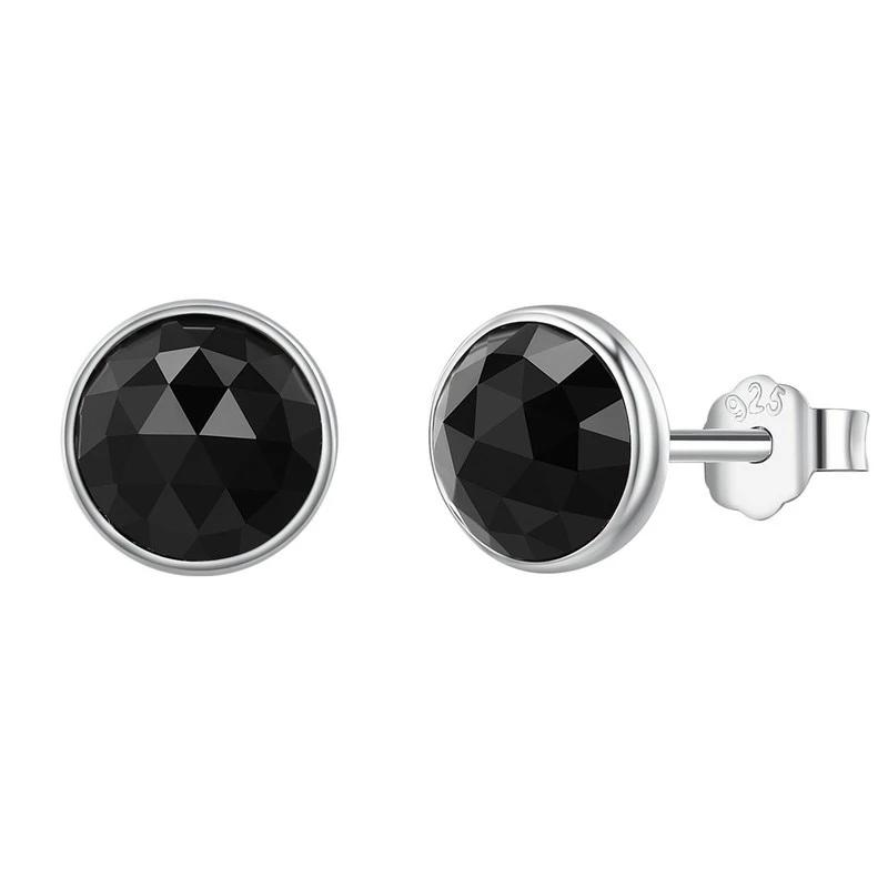June Droplets Stud Earrings - Black Crystal, 925 Sterling Silver