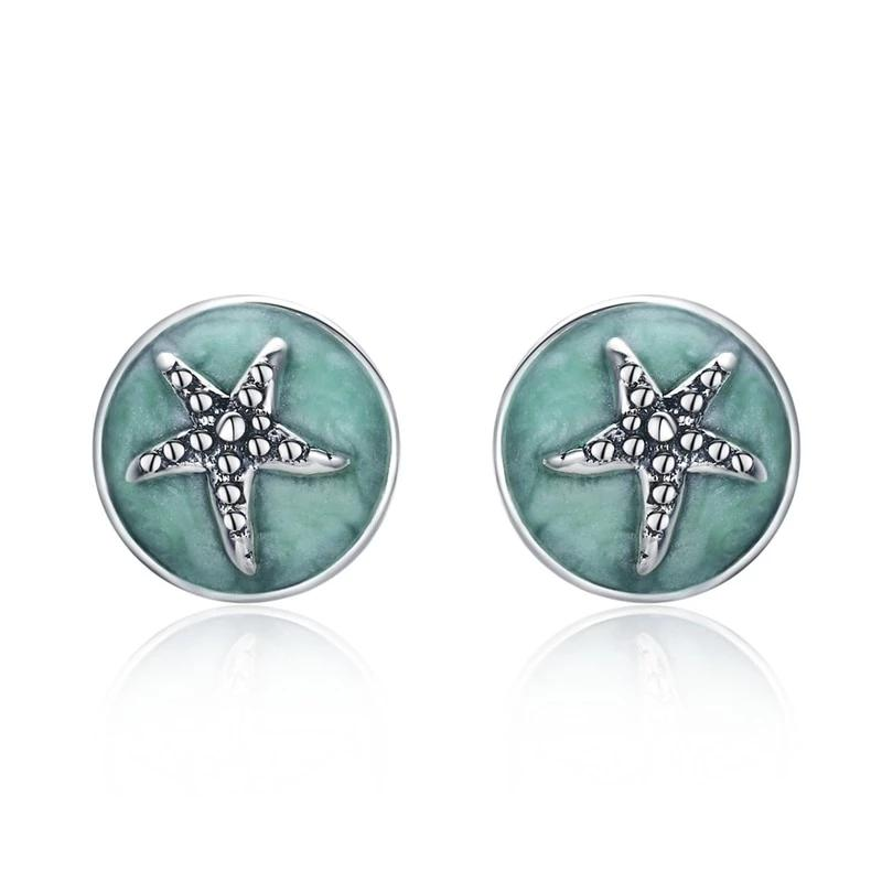 Fantasy Starfish Round Small Stud Earrings - 925 Sterling Silver