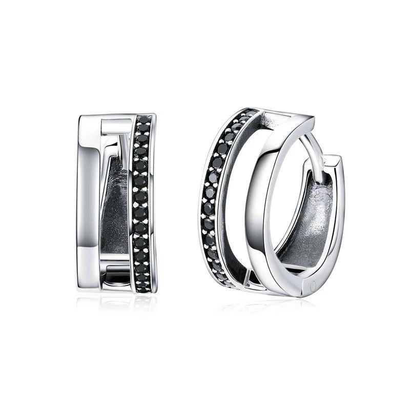 Double Round Circle Hoop Earrings - 925 Sterling Silver, Black CZ