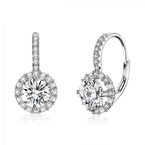 Authentic 925 Sterling Silver Dazzling Cubic Zircon Round Zircon Drop Earrings Women Wedding Silver Jewelry