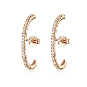 Rose Gold Color Big Stud Earrings - 925 Sterling Silver
