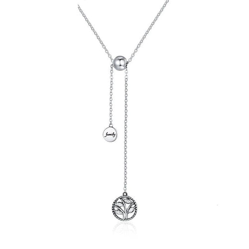 Tree of Life House Letter Necklace Pendant - 925 Silver, Link Chain