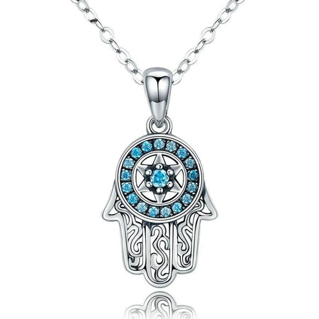Fatima's Guarding Hand Pendant Necklace - 925 Sterling Silver