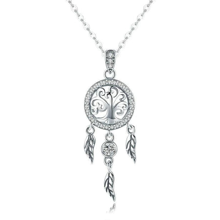 Real 925 Sterling Silver Tree of Life Dream Catcher Pendant Necklaces Women Jewelry