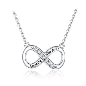 Infinity Love Family Forever Short Chain Necklace for Women Clear CZ 925 Sterling Silver Jewlery