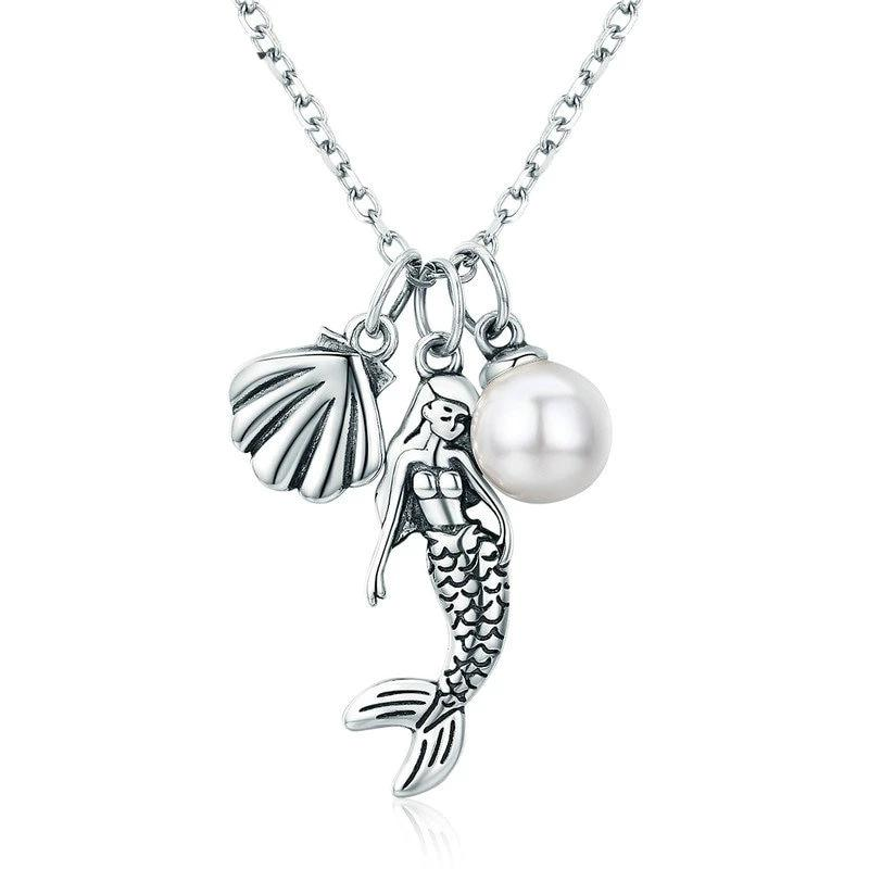 Romantic Mermaid Legend Shell Pendant Necklace - 925 Sterling Silver