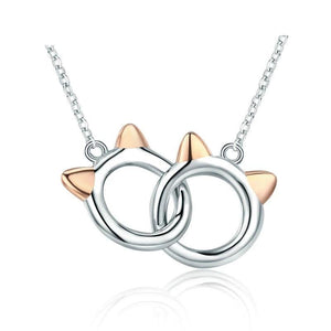 Genuine 925 Sterling Silver Pet Cat Handcuffs Cute Animal Pendant Necklaces Women Silver Jewelry